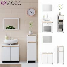 vicco badmöbel set weiß sonoma eiche spiegel waschtischunterschrank midi