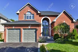 100 Garage House Brick In Suburbs With Two Car Stock Photo Picture And