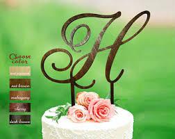 H Cake Topper Wedding Letter Initial