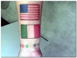 American Flag With Italian Tattoo On Wrist