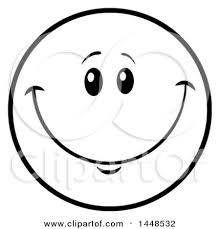 Clipart Of A Cartoon Black And White Lineart Happy Smiley Face Emoji