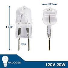 etoplighting 2 pack 20w halogen bi pin bulb g8 base 110 130