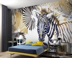 großhandel benutzerdefinierte 3d wandbilder 3d stereoskopische linie aquarell zebra tapete wandbild wohnzimmer sofa tv hintergrund 3d wallpaper roll