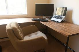 Ikea L Shaped Desk Black by Diy Ikea Butcher Block Countertops As Desk Insideways Diy