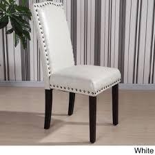 castillian collection faux leather nailhead trim parson chair set