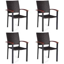 Amazon.com : 4PCS Patio Rattan Dining Chairs Armchair ... 9363 China 2017 New Style Black Color Outdoor Rattan Ding Outdoor Ding Chair Wicked Hbsch Rattan Chair W Armrest Cushion With Cover For Bohobistro Ica White Huma Armchair Expormim White Open Weave Teak Suma With Arms Natural Hot Item Rio Modern Comfortable Patio Hand Woven Sidney Bistro Synthetic Fniture Set Of Eight Chairs By Brge Mogsen At 1stdibs Wicker Derektime Design Great Ideas Warm Rest Nature
