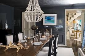 Luxury White Chandelier On The Grey Ceiling Of Modern Gray Dining