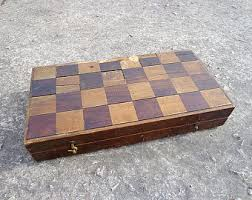Antique Wooden Chess Board Very Old Soviet