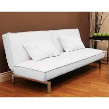 belle faux leather convertible futon sofa bed white walmart com