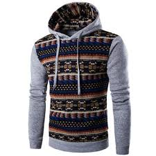 Mens Hoodies Retro Pattern Printing Front Pocket Sport Casual Hooded Tops