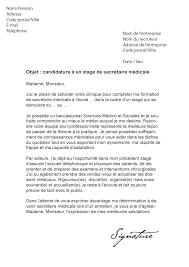 lettre de motivation stage secrétaire médicale modèle de lettre