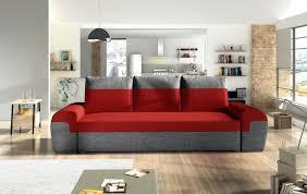 sofa 3 sitzer paros mit schlaffunktion grau rot