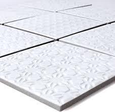 mosaikfliesen keramik istria weiss wandfliesen mosaik fliesen boden fleisen fliesen bordüre ideal für den wohnbereich die küche und das