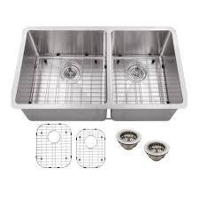 schon undermount stainless steel 32 in double bowl kitchen sink