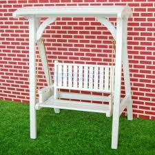 1 12 Dollhouse Miniature Garden Furniture Wooden Swing Rocking Chair White