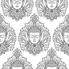 Download Buddha Head And Lotus Seamless Pattern Stock Vector