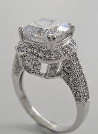 ART DECO STYLE LARGE CUSHION CUT DIAMOND ACCENT RING SETTING Engagement Ring Settings
