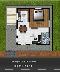 30 X 30 House Floor Plans by Way2nirman 100 Sq Yds 30x30 Sq Ft North Face House 1bhk Elevation