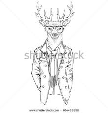 Deer Dressed Up In Coat Furry Art Illustration Fashion Animals Hipster