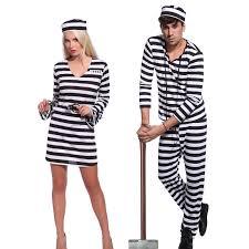 men women u0027s convict jail prisoner costume black white striped