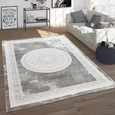 teppich wohnzimmer im vintage barock stil mit blumen muster kurzflor in grau