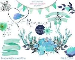 WATERCOLOR FLORAL CLIPART Commercial Use Clip Art Rustic Aqua Mint Deer Antlers Flower Bouquets Banner Backgrounds Romantic Wedding Graphics