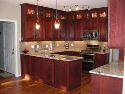 14 U Shape Kitchen Decoration Using Red Rustic Cherry Cabinets Including Solid