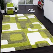 wohnzimmer teppich modern grün grau weiß retro muster kurzflor