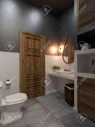 badezimmer modernen stil compromising mit holz und beton perfekt für ein büro oder haus 3d übertragen