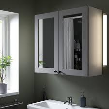 enhet spiegelschrank 2 türen weiß grau rahmen 80x32x75 cm