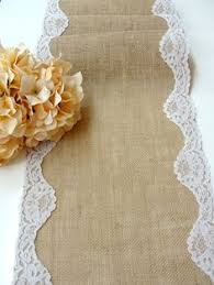 Burlap Table Runner With White Scalloped Lace Wedding Rustic Romantic Handmade In The USA