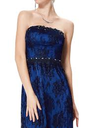 ever pretty strapless black lace formal evening dress