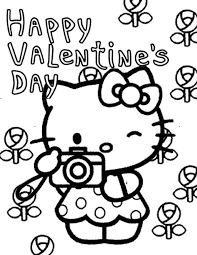 Printable Hello Coloring Pages Valentines Day And Flowers Page H M