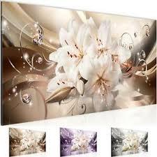 wandbild modern wohnzimmer blumen lilien beige braun