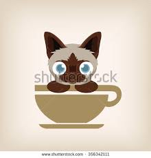 cat coffee cat coffee logo design vector illustration stock vector 318612503