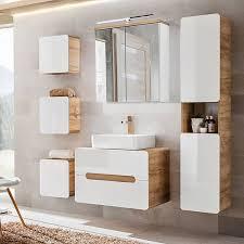 badezimmer komplett set hochglanz weiß wotaneiche luton 56 keramik wa