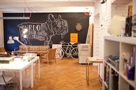 Indoor Painted Brick Office