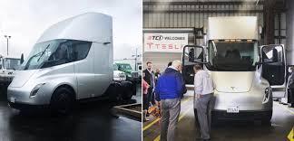 100 Semi Truck Rv Tesla Leasing Partner Test Drives Electric Truck Prototype