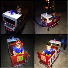 Made A Cardboard Fire Truck To Attach On My Sons Wagon For His ...