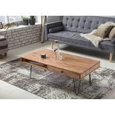 couchtisch massiv holz akazie 120 cm breit wohnzimmer tisch design metallbeine landhaus stil beistelltisch b h t ca 120 40 60cm