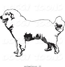 Doggy Clipart Of A Friendly Great Pyrenees Mountain Dog In Profile Facing To The Left