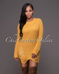 chic couture online parisea yellow ribbed shredded long sleeves