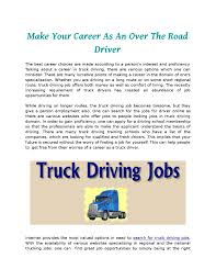 100 National Truck Driving Jobs Make Your Career As An Over The Road Driver By Er Search Issuu