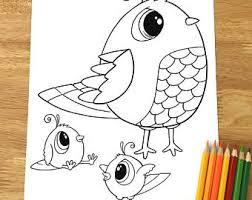 Cute Birds Coloring Page Downloadable PDF File