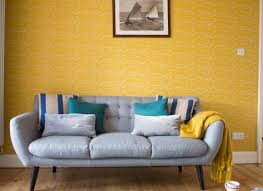 Modern Mid Century Living Room With Yellow Wallpaper