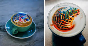 Barista Creates Colorful Latte Art Using Food Dye