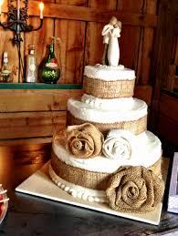 Rustic Chic Wedding Cake Decor Ideas We Love Pairing Willow Tree Figurines With Burlap
