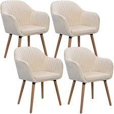 woltu 4er set esszimmerstühle küchenstuhl wohnzimmerstuhl polsterstuhl design stuhl mit armlehne samt massivholz cremeweiß bh95cm 4