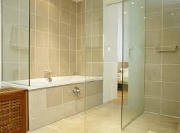 beige and black bathroom ideas square shape black floor tiles