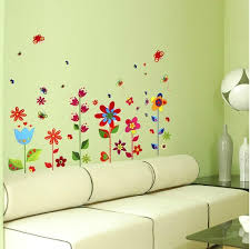 Transparent Border Kids Bedroom Wall Decals Colorful Sun Flower Blossom Unique Decoration Interior Design